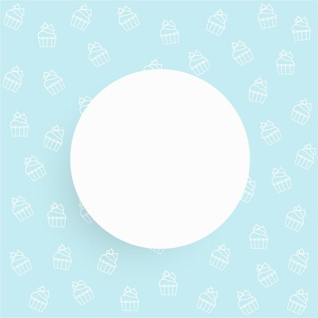 Linea Bianca Cupcake Bakery Su Sfondo Azzurro Con Cerchio Bianco E