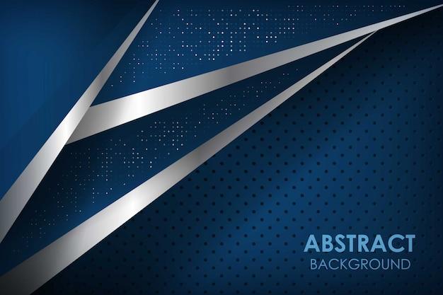 Linea blu nastro astratto con strati di sovrapposizione blu scuro. texture con glitter elemento puntini decorazione. Vettore Premium