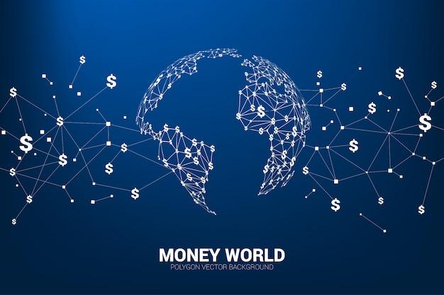 Linea collegare denaro dollaro valuta forma il globo del mondo. Vettore Premium