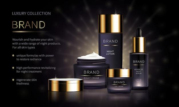 Linea cosmetica da notte per la cura della pelle del viso Vettore gratuito