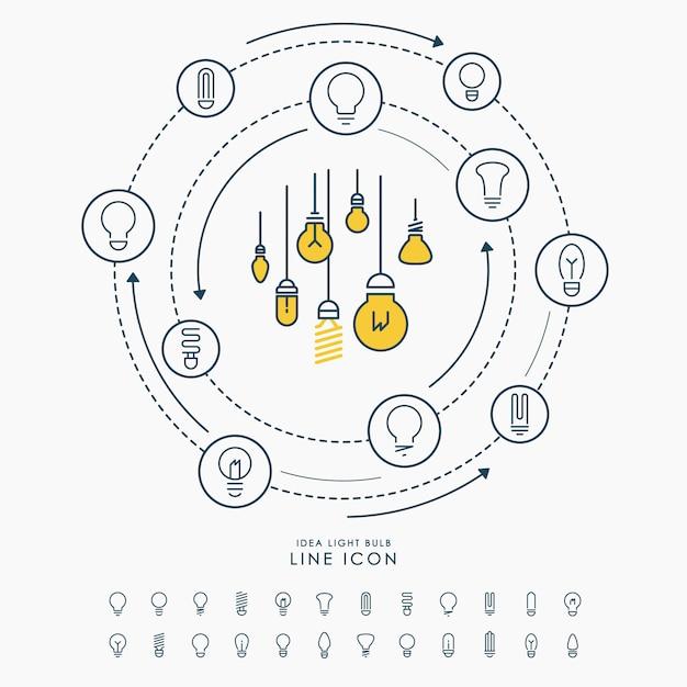 Linea creativa icone della lampadina di idea infographic Vettore Premium