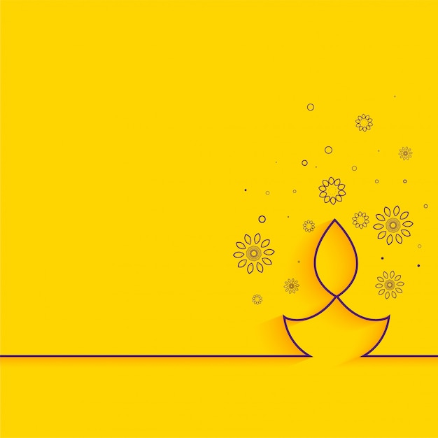 Linea creativa sul saluto minimo di diwali del fondo giallo Vettore gratuito