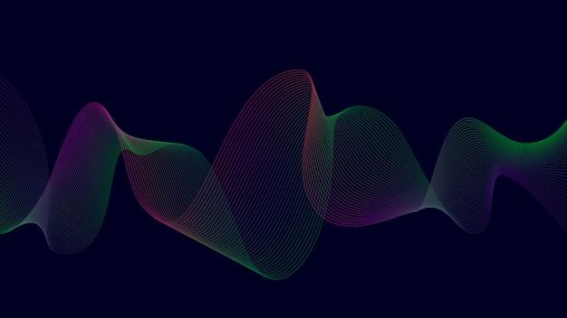 Linea curva astratta variopinta su buio Vettore Premium