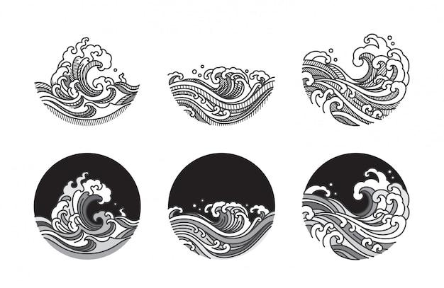 Linea dell'onda di acqua insieme dell'illustrazione di arte Vettore Premium