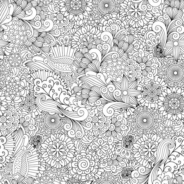 Linea dettagliata sfondo ornamentale con fiori Vettore Premium