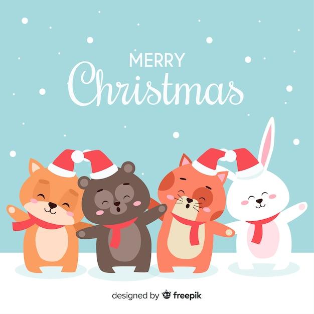 Immagini Natalizie Di Animali.Linea Di Animali Di Natale Scaricare Vettori Gratis