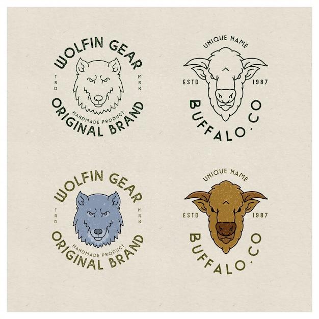 Linea di animali logo emblema vintage Vettore Premium