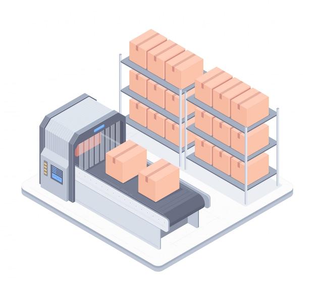 Linea di boxe automatizzata con illustrazione isometrica del nastro trasportatore Vettore Premium