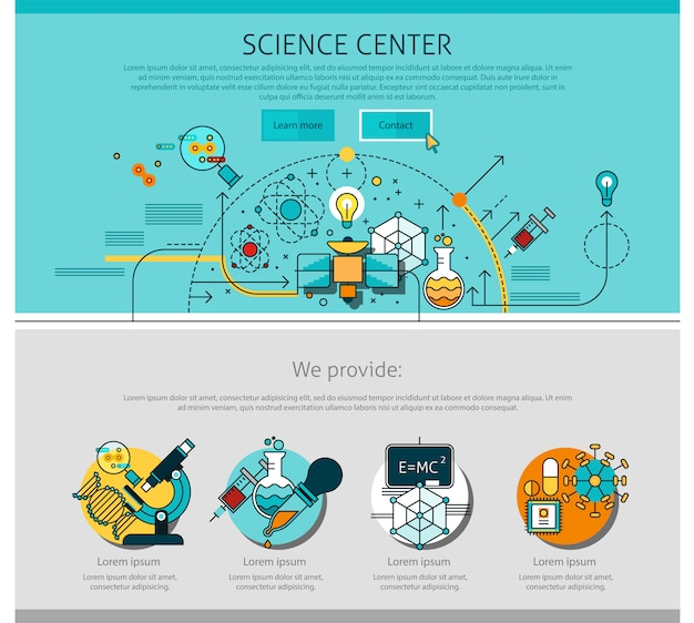 Linea di centro della scienza illustrazione della pagina Vettore gratuito