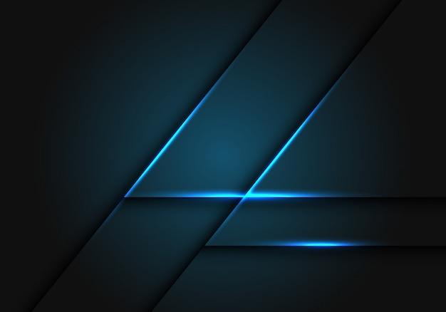 Linea di luce blu su sfondo geometrico grigio scuro. Vettore Premium