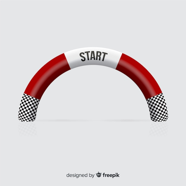 Linea di partenza gonfiabile con design realistico Vettore gratuito