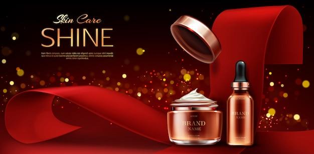 Linea di prodotti di bellezza per la cura della pelle, vasetto di crema e tubo per pipetta siero su rosso Vettore gratuito