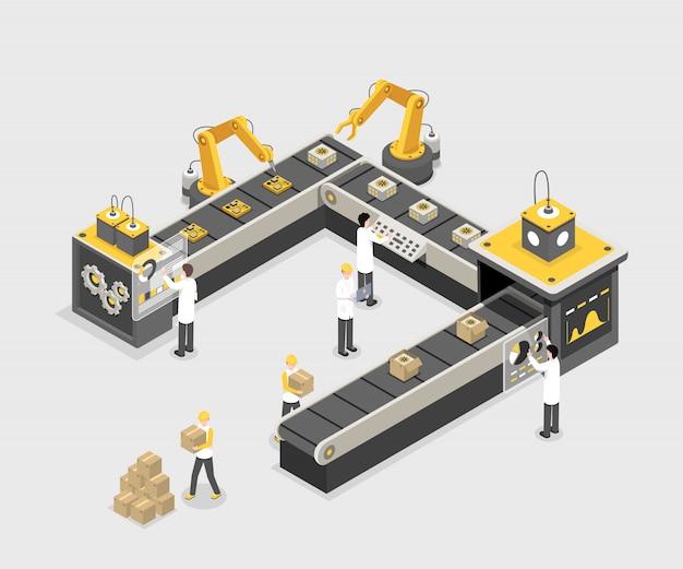 Linea di produzione autonoma e programmata con i lavoratori. fabbrica moderna, processo produttivo industriale Vettore Premium