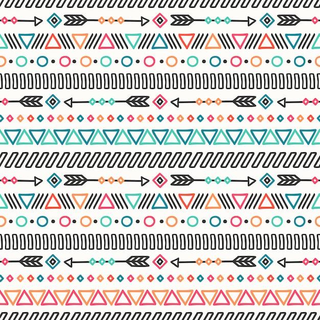 Linea disegnata a mano tribale modello senza cuciture etnico messicano. Vettore Premium