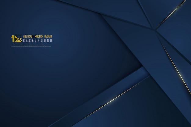 Linea dorata di lusso blu gradiente astratto modello premium sfondo. Vettore Premium