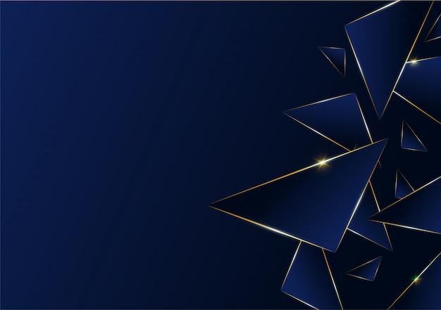 Linea dorata di lusso del modello astratto poligonale con blu scuro Vettore Premium