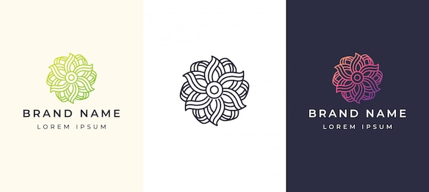 Linea elegante fiore elegante logo Vettore Premium