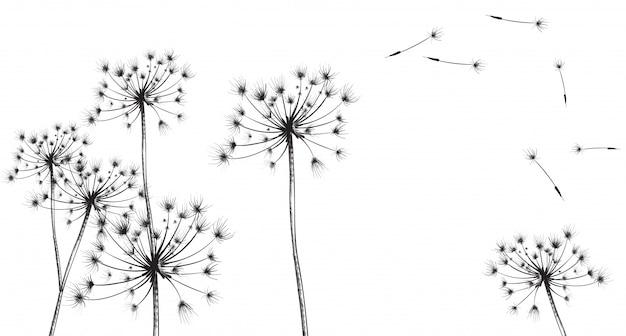 Linea fiori di tarassaco art Vettore Premium