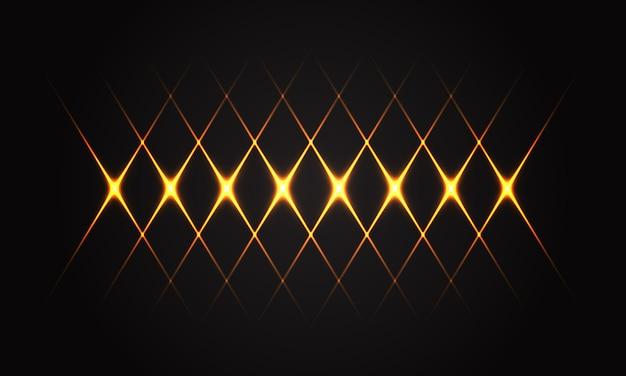 Linea leggera astratta dell'oro modello trasversale sulla tecnologia futuristica di lusso del fondo nero. Vettore Premium