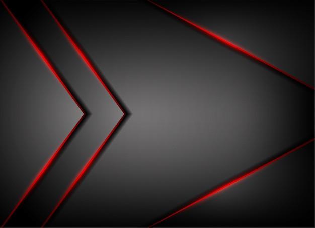 Linea luce rossa ombra su sfondo grigio Vettore Premium