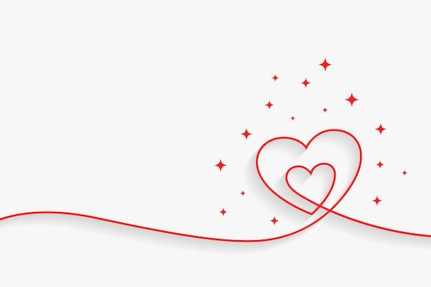 Linea minimale cuore sfondo con lo spazio del testo Vettore gratuito