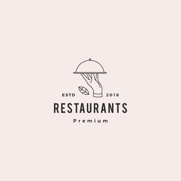 Linea monoline profilo dell'illustrazione dell'icona di vettore di logo del piatto del cibo per le mani Vettore Premium