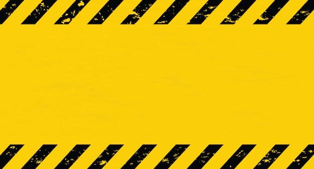 Linea nera e gialla a righe. nastro cautela. sfondo di avviso vuoto. Vettore Premium