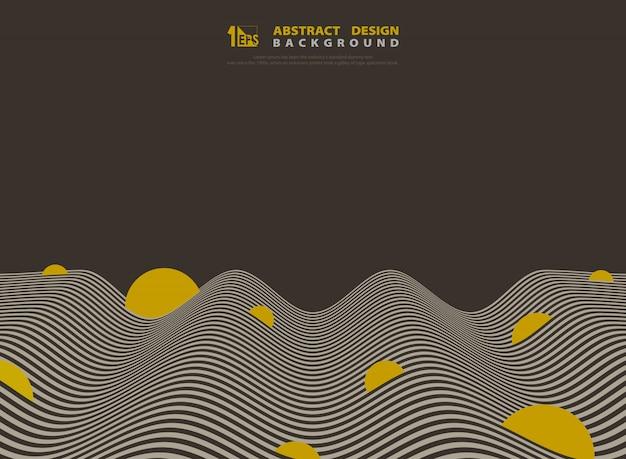 Linea ondulata ottica marrone e gialla astratta progettazione fondo. Vettore Premium