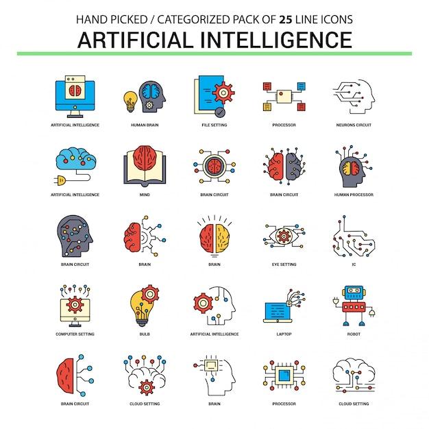 Linea piana icona di intelligenza artificiale messa - progettazione delle icone di concetto di affari Vettore gratuito