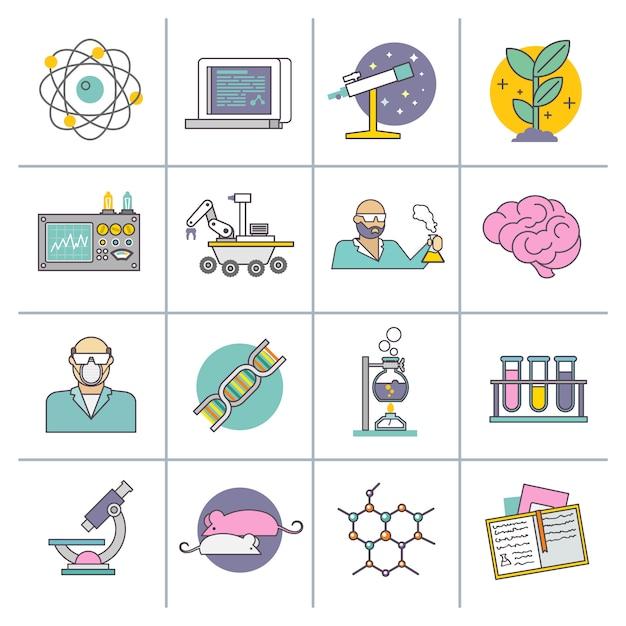 Linea piatta di scienza e ricerca Vettore Premium