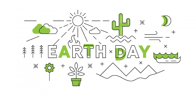 Linea piatta happy earth day design in verde Vettore Premium