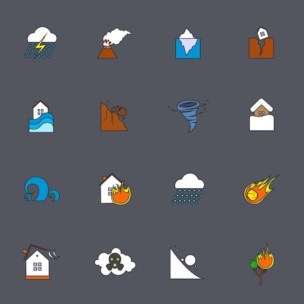 Linea piatta icone di disastro naturale Vettore Premium