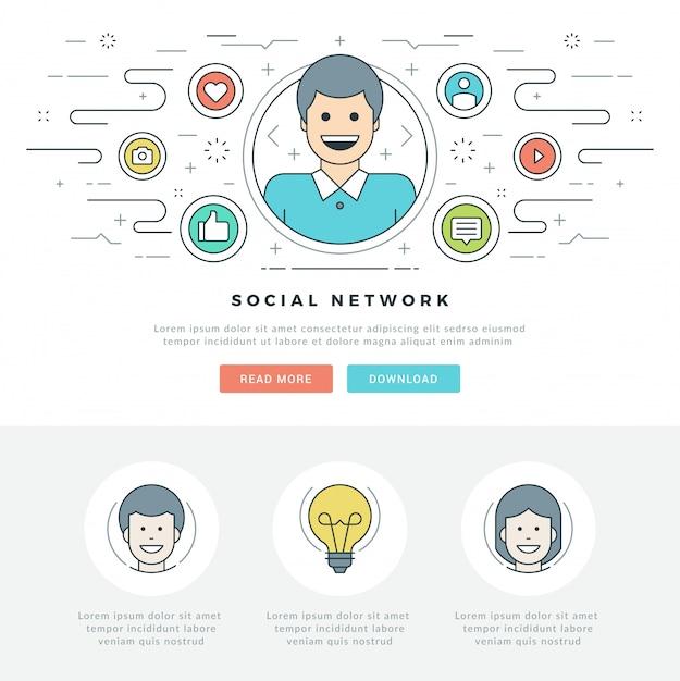 Linea piatta social media concept e linea stile icone design. Vettore Premium
