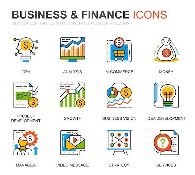 Linea semplice set di icone di affari e finanza per sito web Vettore Premium