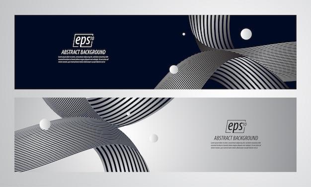 Linea sfondo astratto banner dinamico Vettore Premium