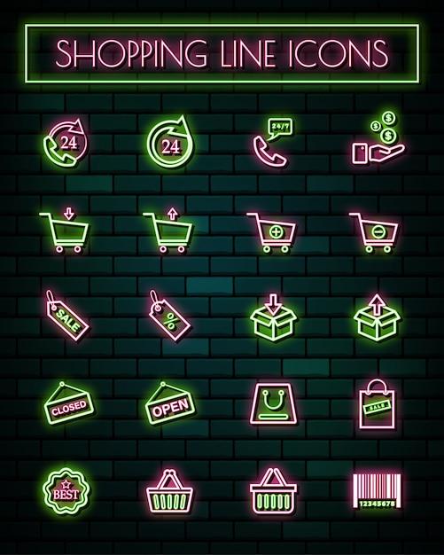 Linea sottile icone al neon di acquisto segno sottile impostato. Vettore Premium
