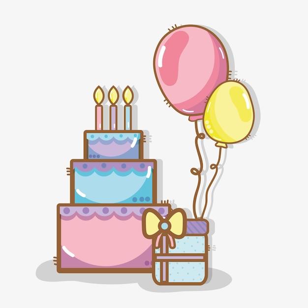 Linea Torta Con Palloncini E Festa Di Compleanno Regalo Scaricare