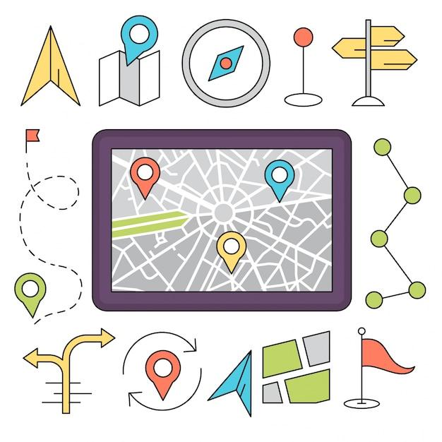 Linear style icone di navigazione minimale ed elementi di viaggio Vettore gratuito