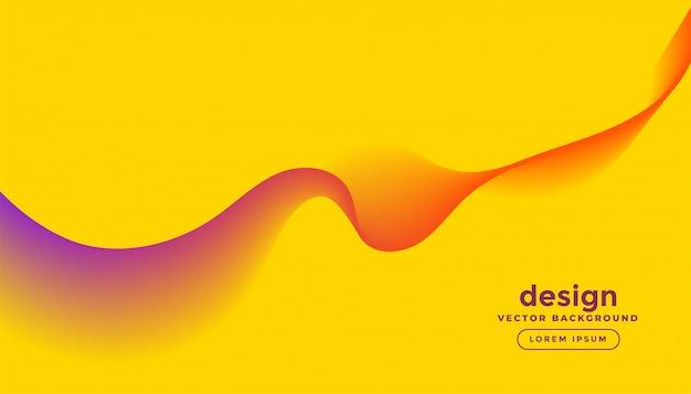 Linee colorate astratte dell'onda nella progettazione gialla del fondo Vettore gratuito