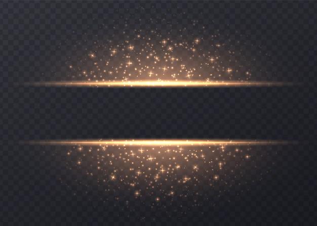 Linee con stelle e scintillii isolati. sfondo luminoso dorato con polvere e riflessi. effetto luce vettoriale incandescente. Vettore Premium