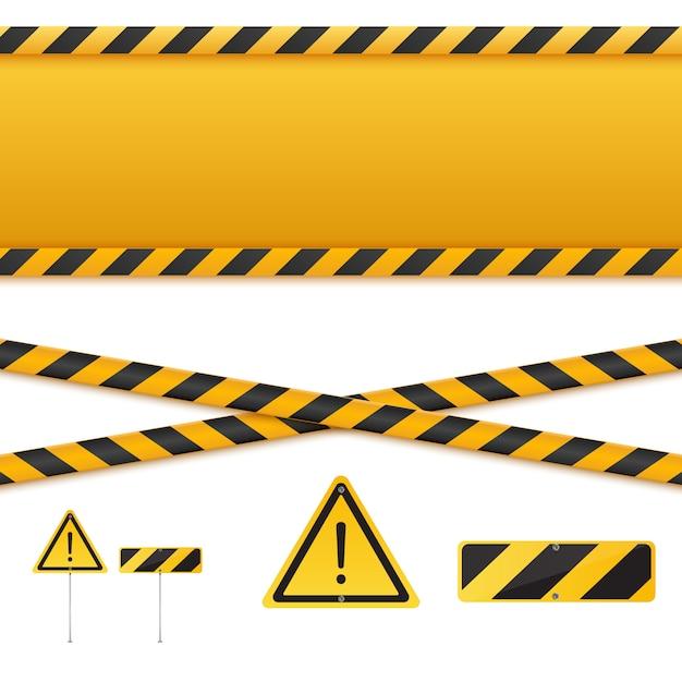 Linee di attenzione isolate. nastri d'avvertimento. segni di pericolo. Vettore Premium