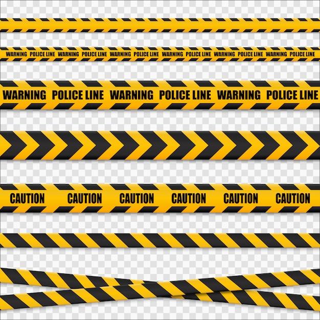 Linee di attenzione isolate. nastri d'avvertimento. segni di pericolo .. Vettore Premium