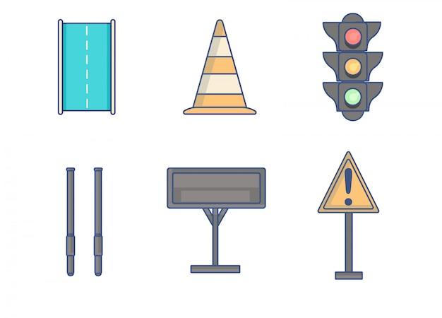 Linee di elemento di regole del traffico icona Vettore Premium