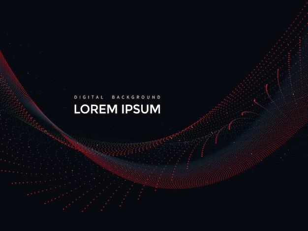 Linee digitali su sfondo nero, disegno astratto mesh Vettore Premium