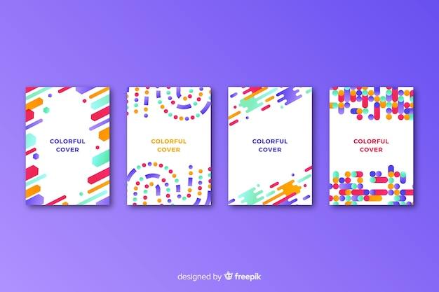 Linee geometriche colorate coprono la collezione Vettore gratuito