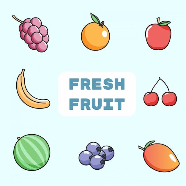 Linee piatte stile collezione di frutta fresca colorfull Vettore Premium