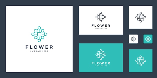 Linee semplici ispirate al logo floreale Vettore Premium