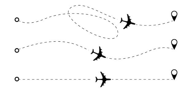Linee tratteggiate della rotta dell'aeroplano. Vettore Premium