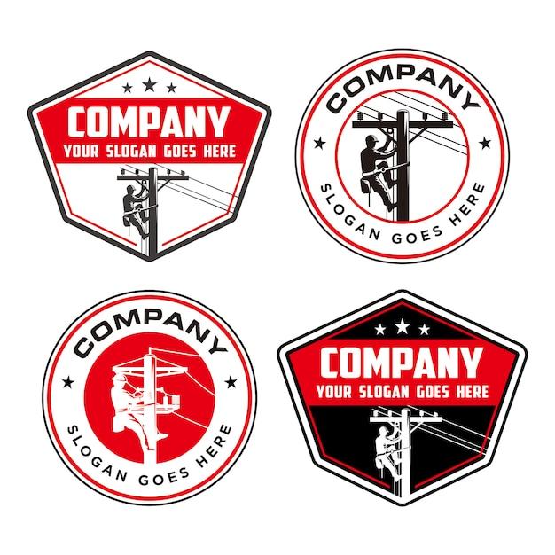 Lineman logo, logo elettrico ad alta pole Vettore Premium