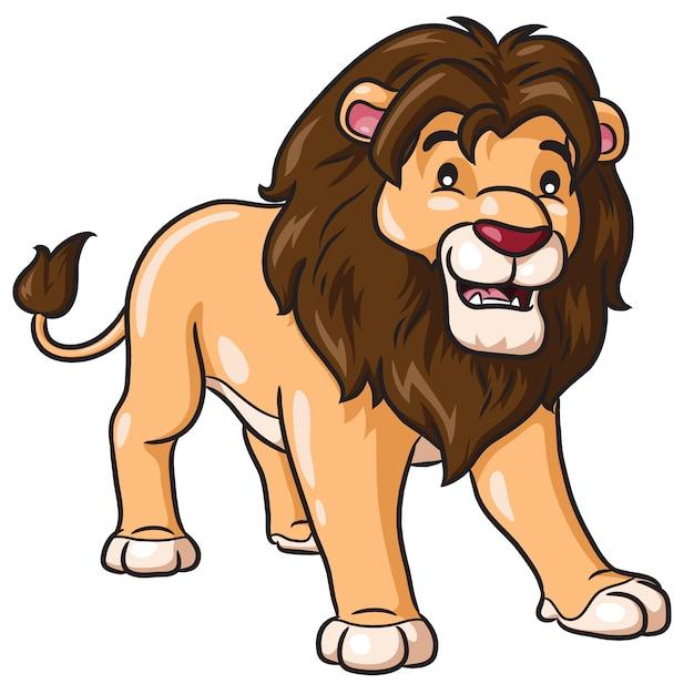 Lion cartoon cute Vettore Premium